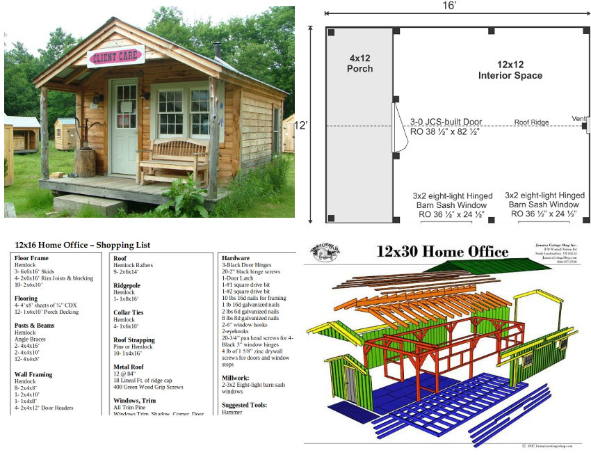 Examples of the Jamaica Cottage Shop 12x16' home office which has an undercover porch area, and whose plans cost $29.95.