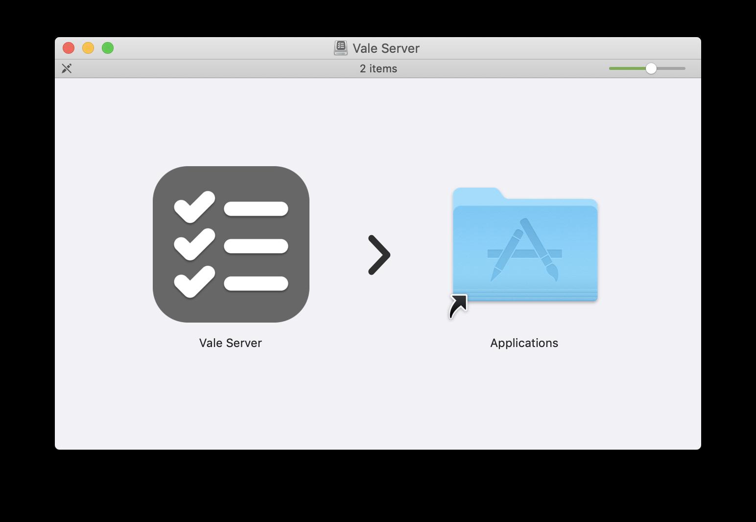 A screenshot of Vale Server's DMG installer.