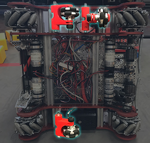 Underside of a bot with dead wheels highlighted