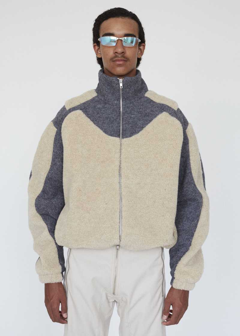 GMBH AW19 ERCAN FLEECE JACKET BEIGE GREY FRONT