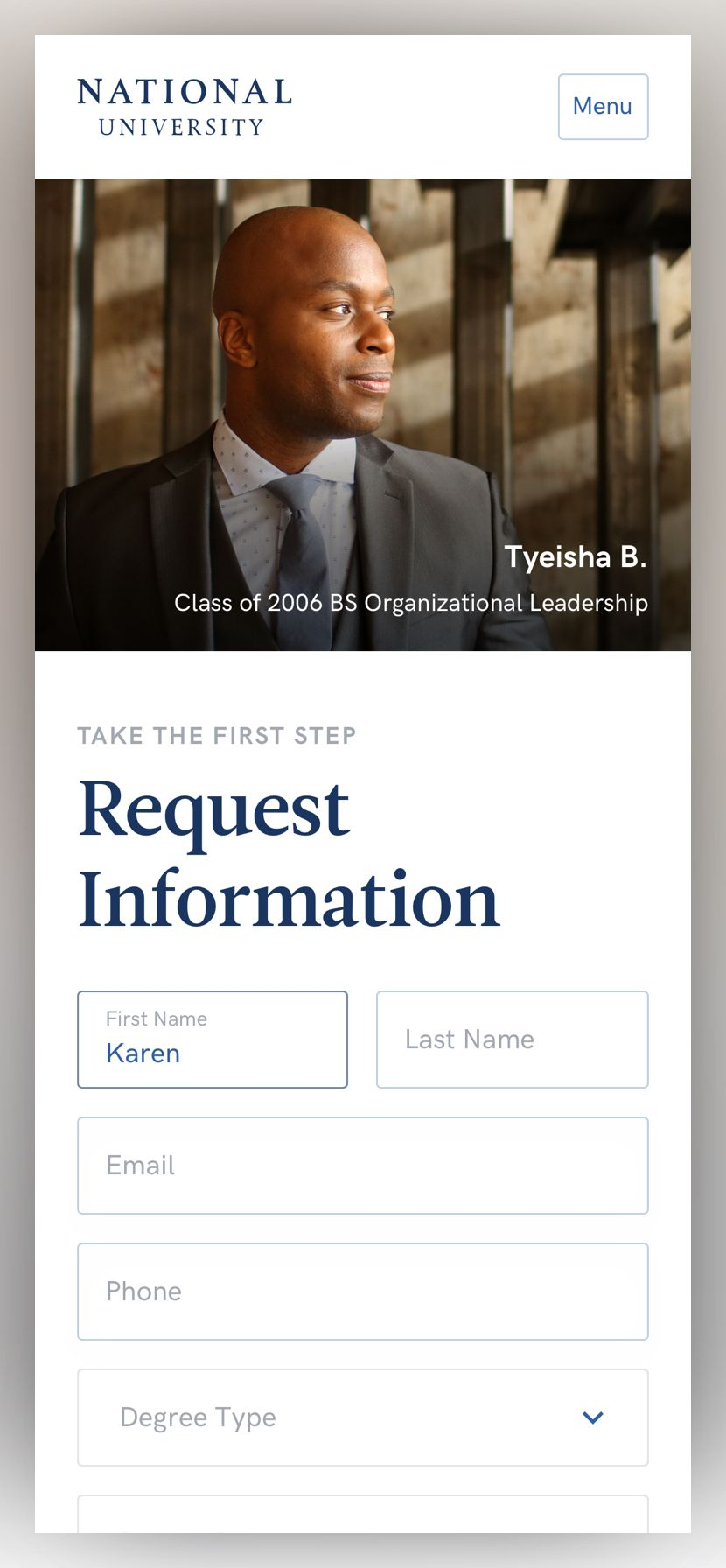 screenshot of the National University request information landing page at phone size