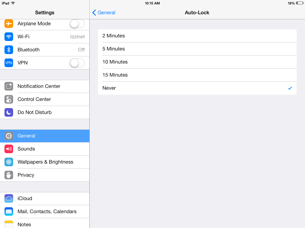 View of iOS's Auto-Lock settings