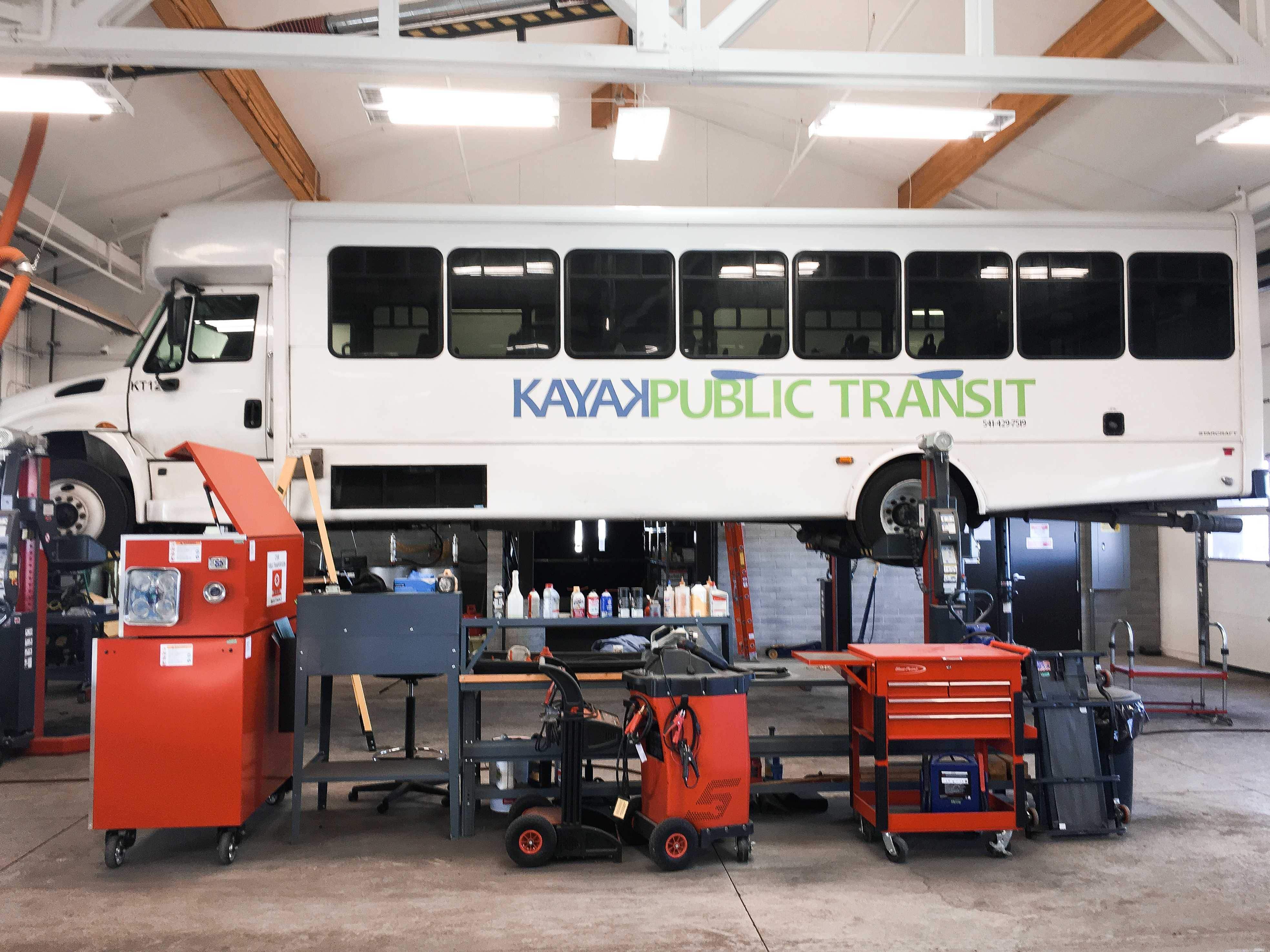 Kayak Public Transit Bus undergoing maintenance