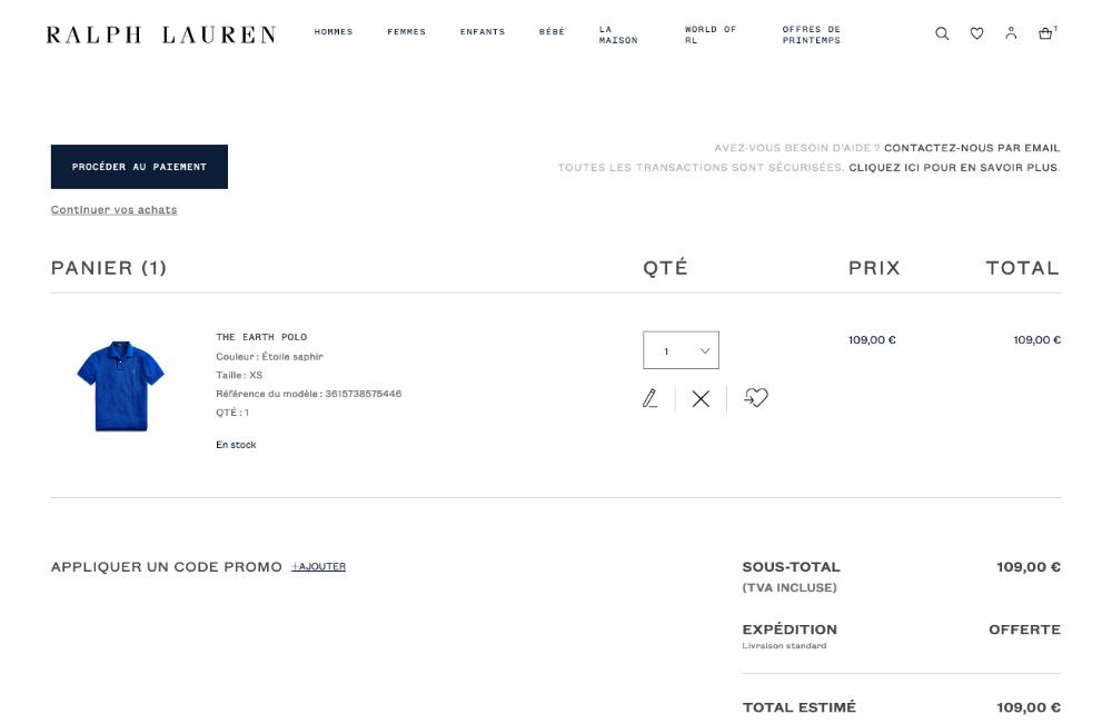 panier site Ralph Lauren