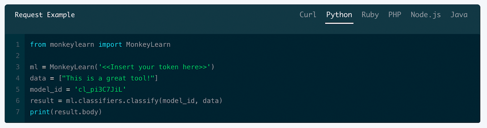 Using the sentiment classifier with MonkeyLearn's API code in Python.