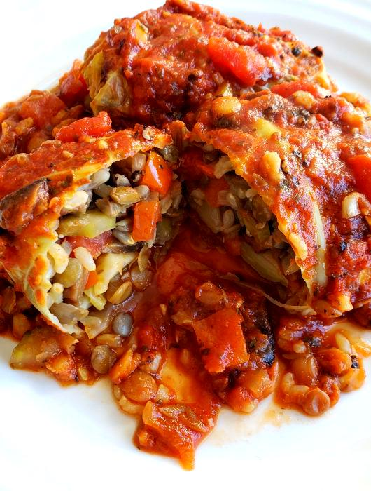 Vegan Cabbage Rolls with Lentils & Brown Rice