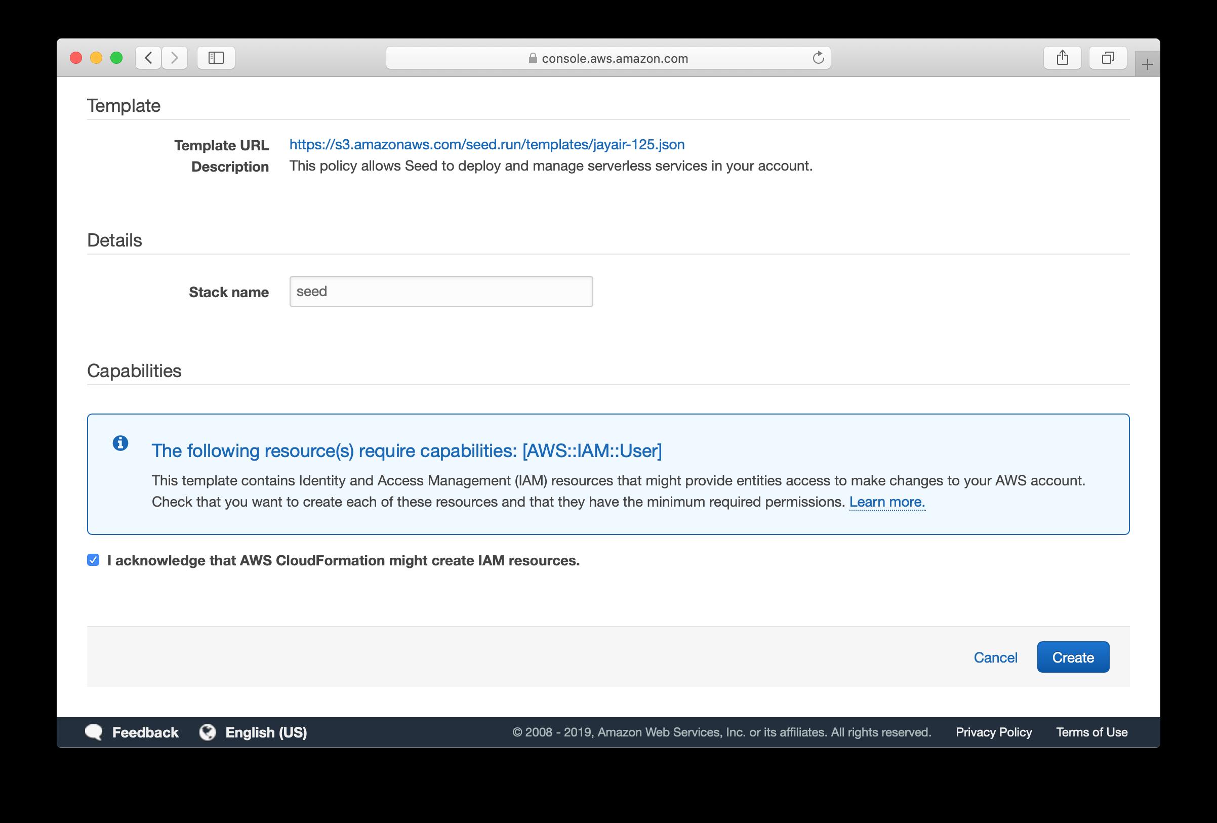 Click create CloudFormation Seed template screenshot
