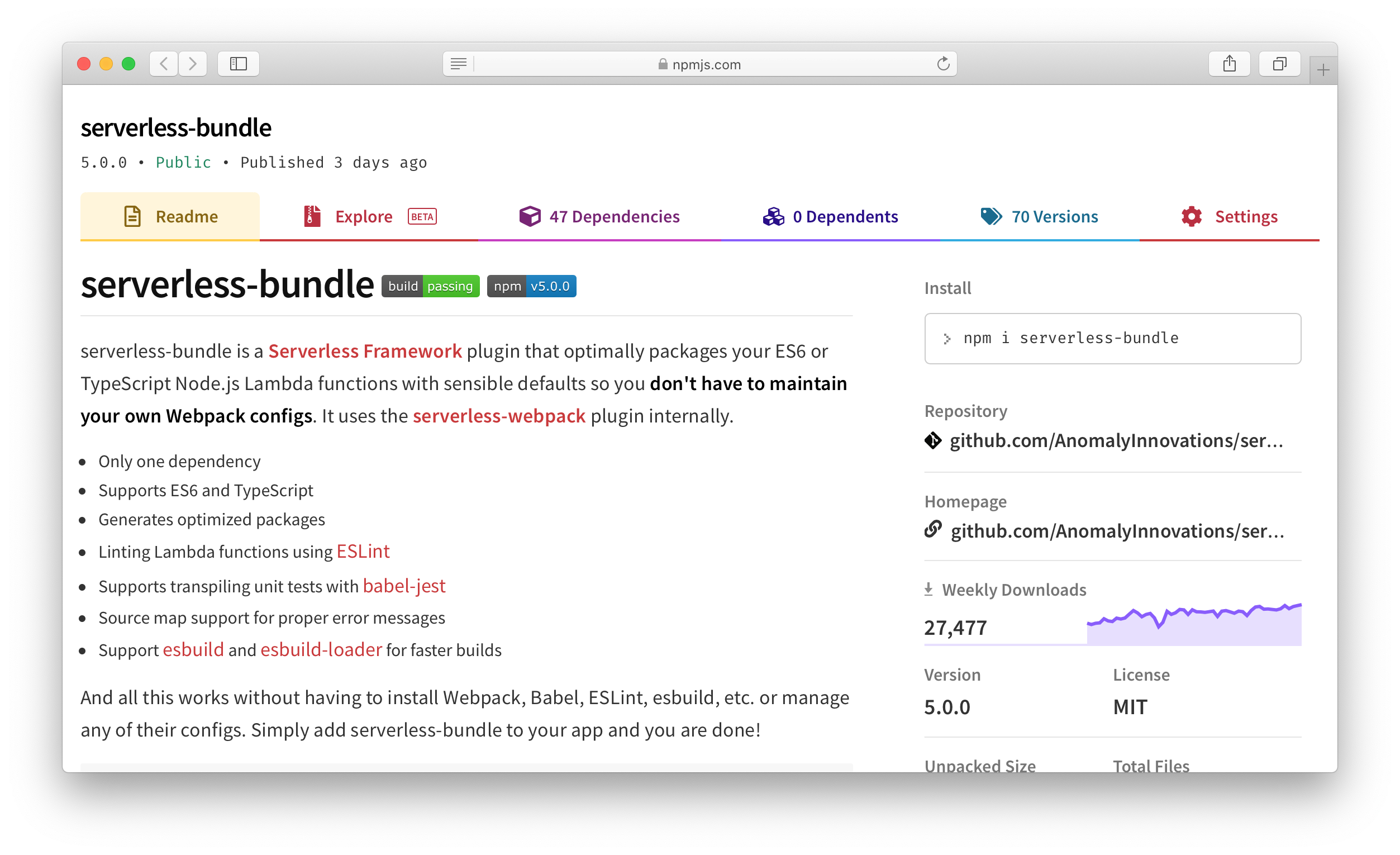 serverless-bundle plugin npm screenshot