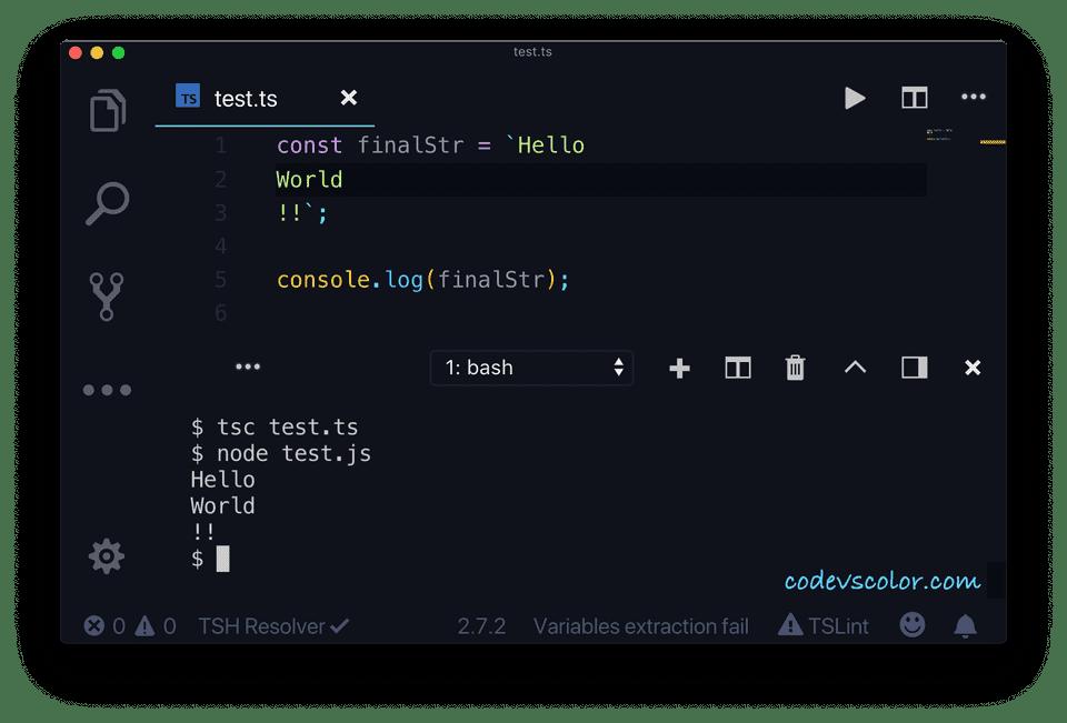 TypeScript template string