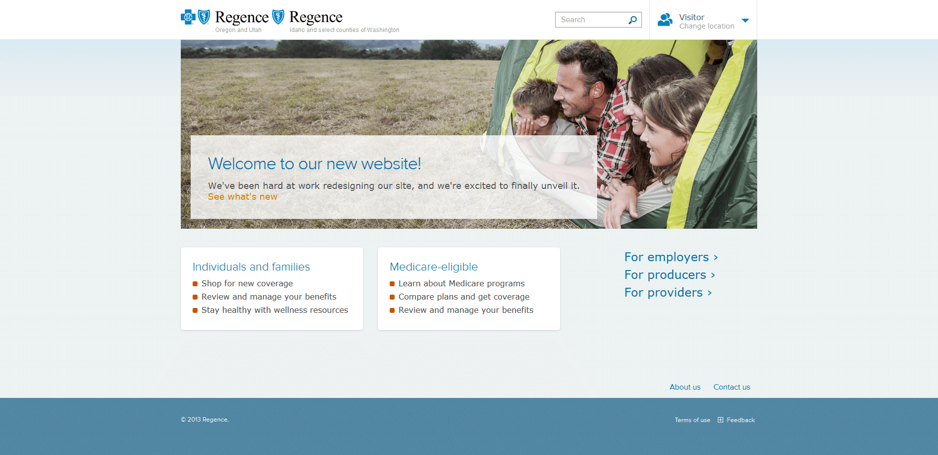 Regence Portal (BlueCross BlueShield) home page