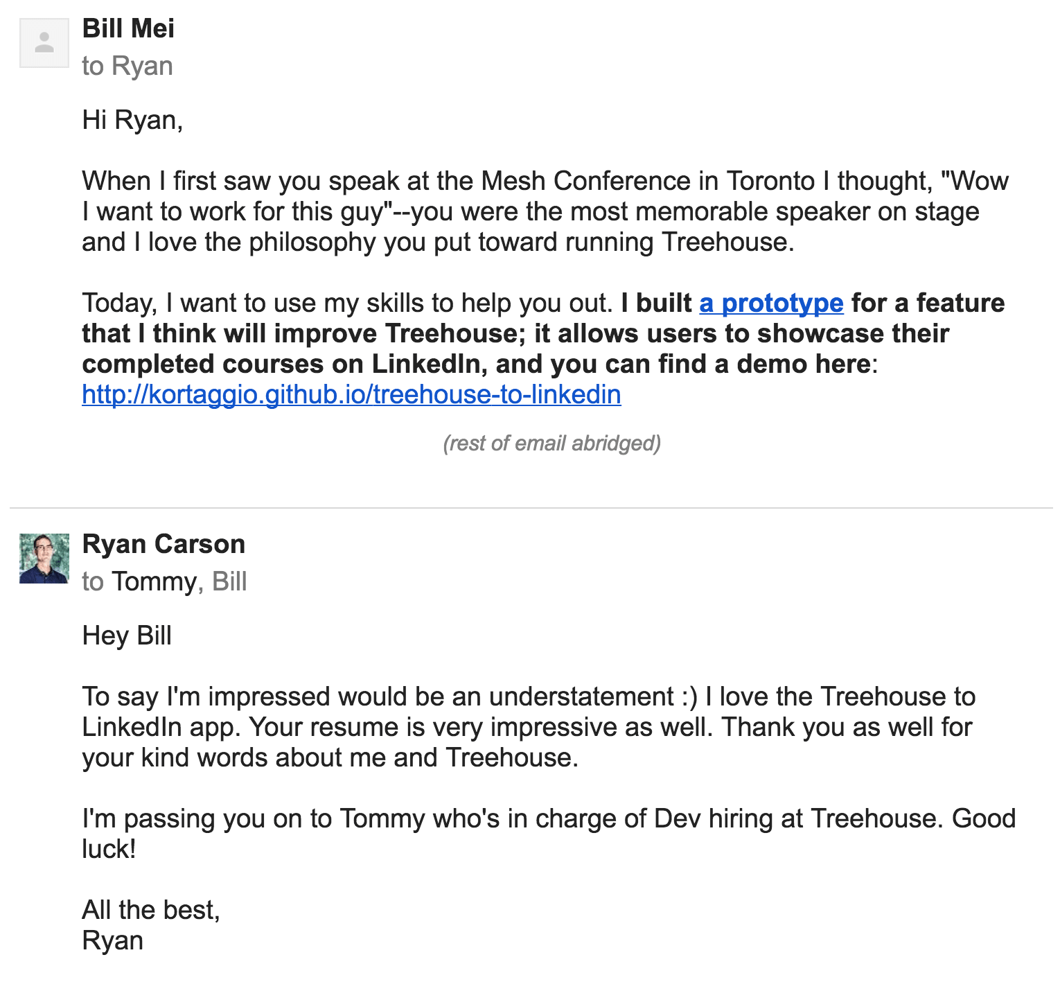 The email I sent to Treehouse to apply for a job