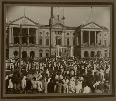 An old photo of the Singapore centenary celebrations.