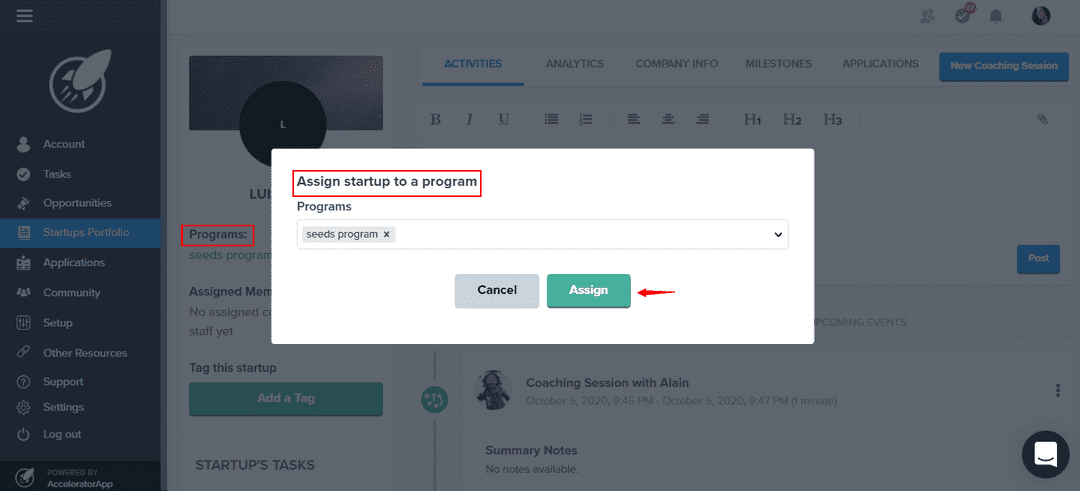 Assign startup to a program - startup profile