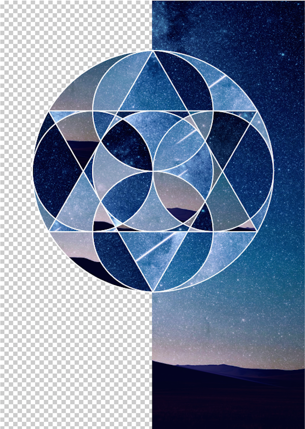 The background layer is masked down the middle so that only the right hand side is visible