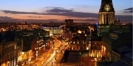 Leeds city centre at night