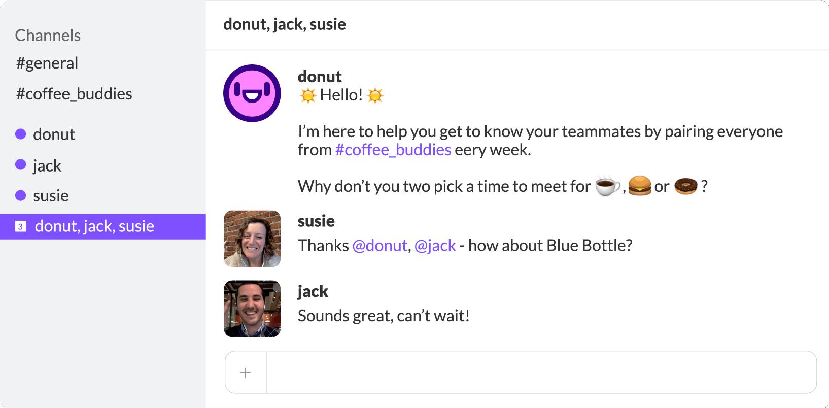 Donut Slack bot user interface