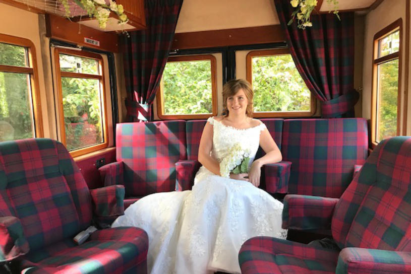 Bride sitting inside Henry