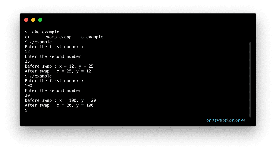 C++ swap two numbers without using third example
