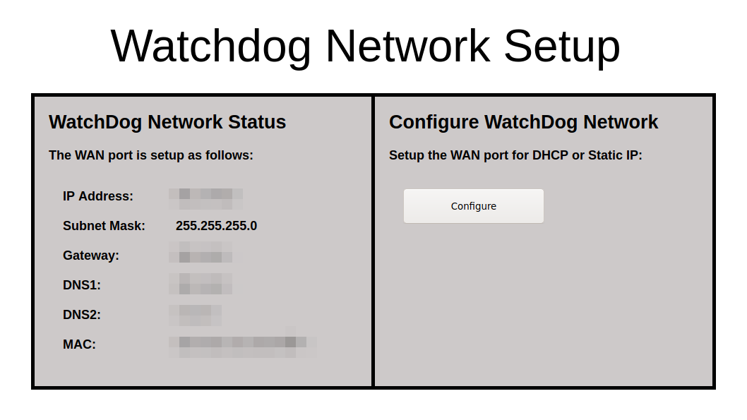 The Watchdog network configuration screen, to configure the static IP address used to connect to the dryer.