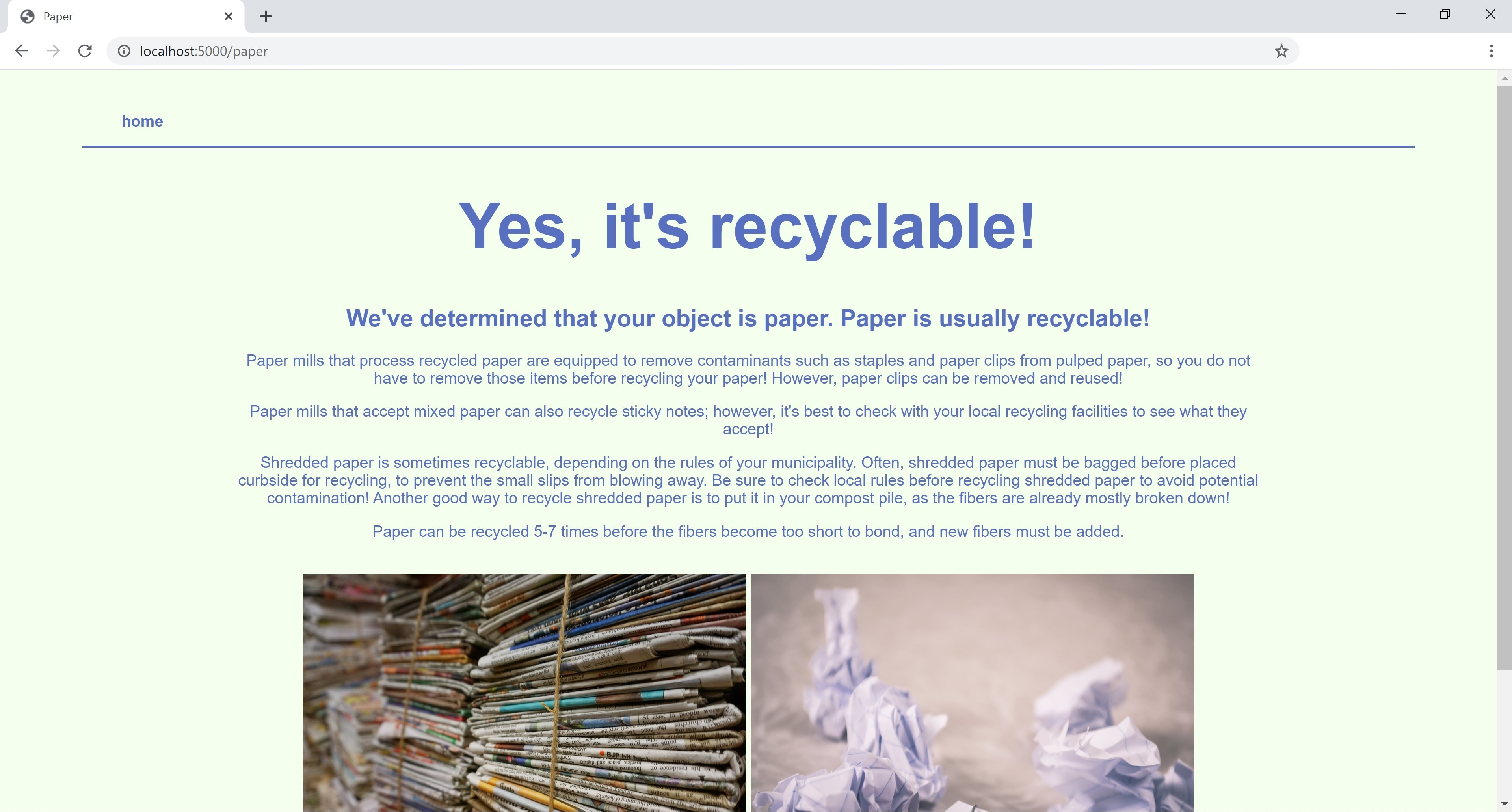 a screenshot of the Is This Recyclable site, with the words 'Yes, it's recyclable!' and images and info on how to recycle paper.