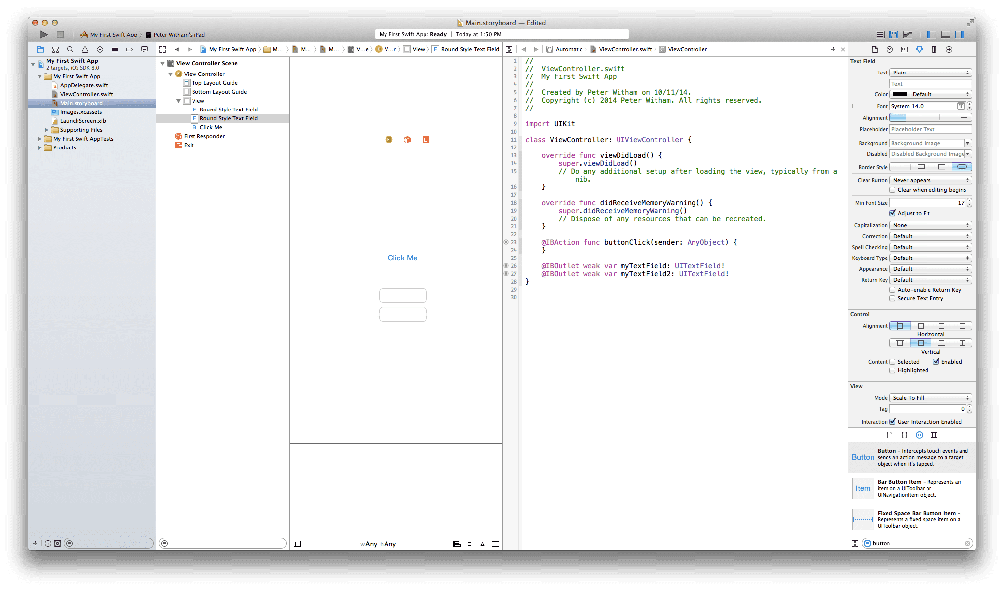 Xcode 6 - Storyboard with button and two textfields