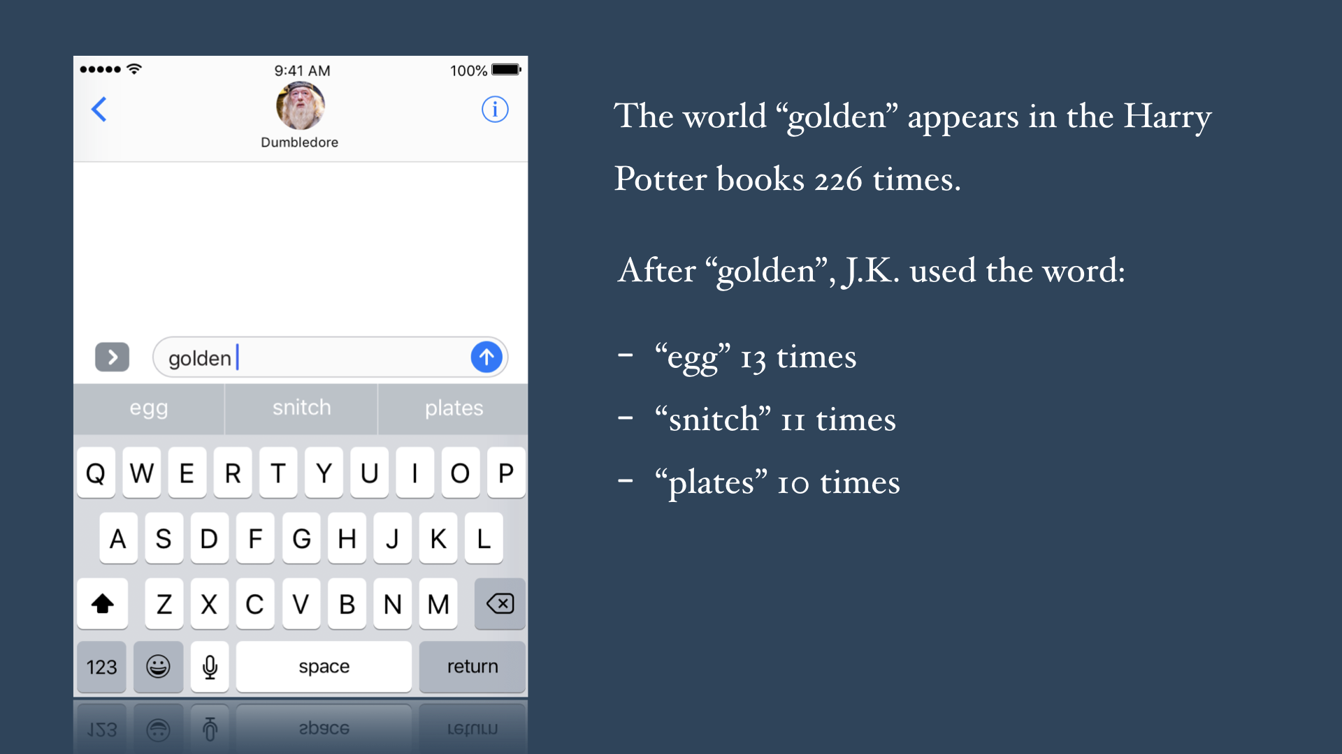 "Stats about the words J. K. Rowling uses after ""golden"""