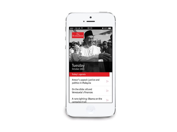 smart phone with Economist Espresso app loaded