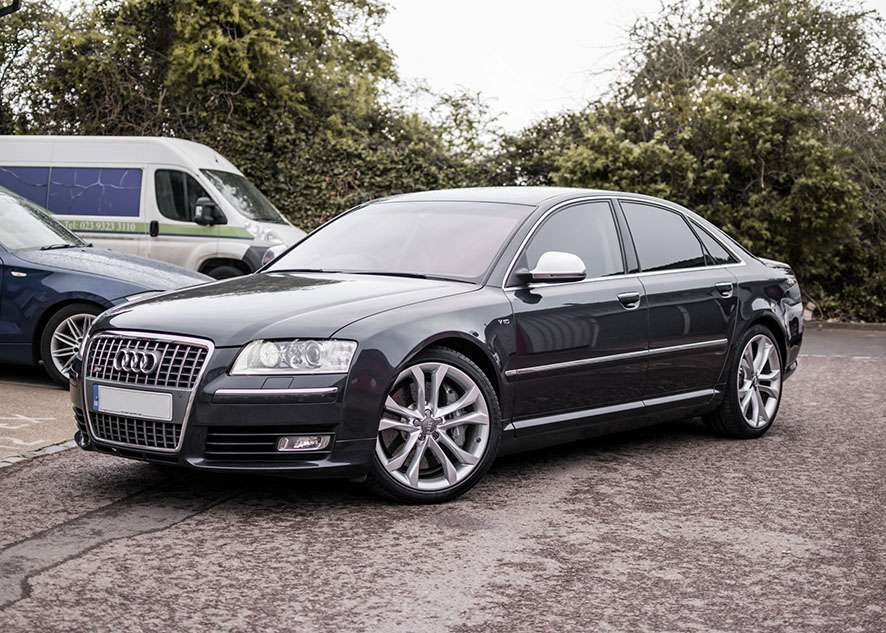 Audi s8 car with tinted windows from front