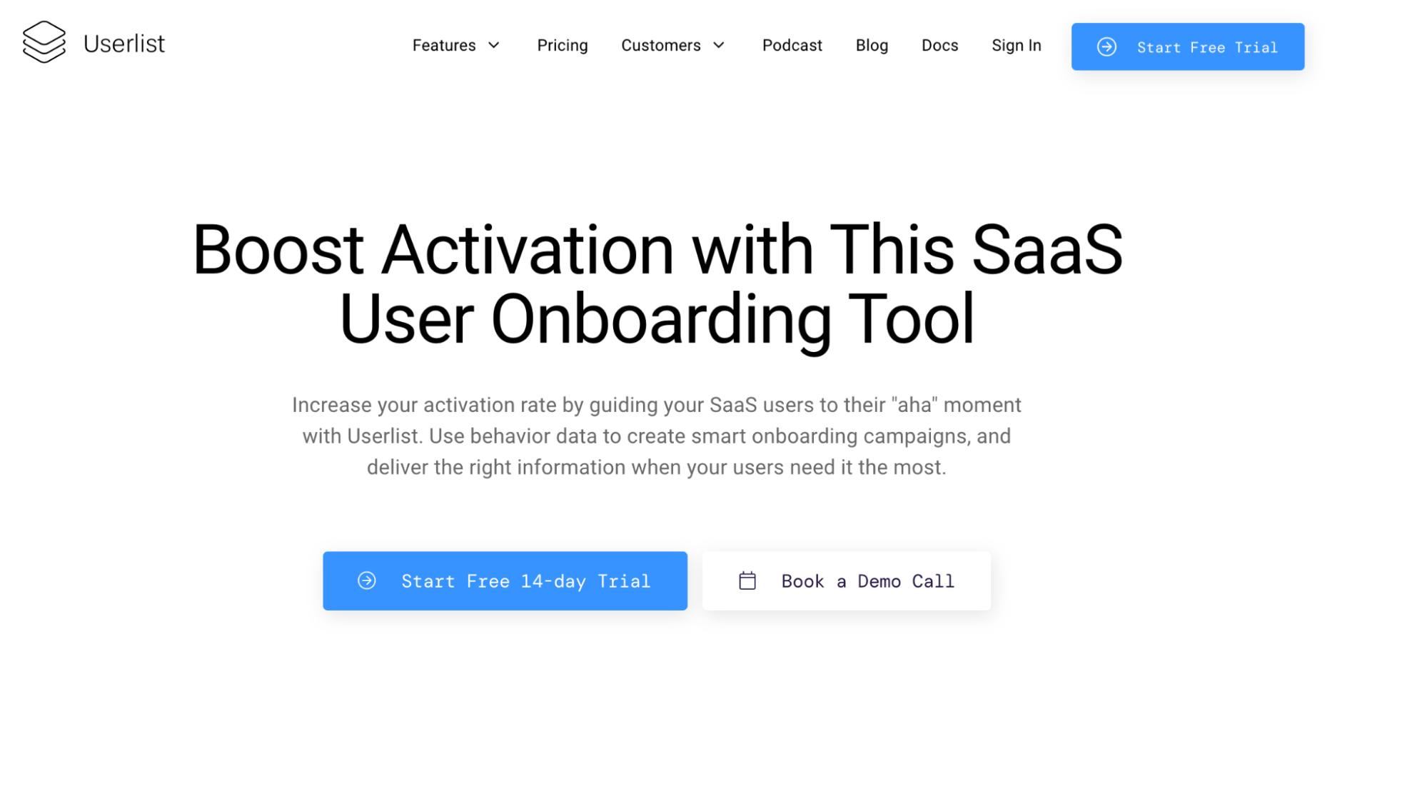 User Onboarding Software: Userlist screenshot