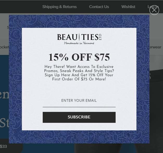 Incentive example in welcome popup