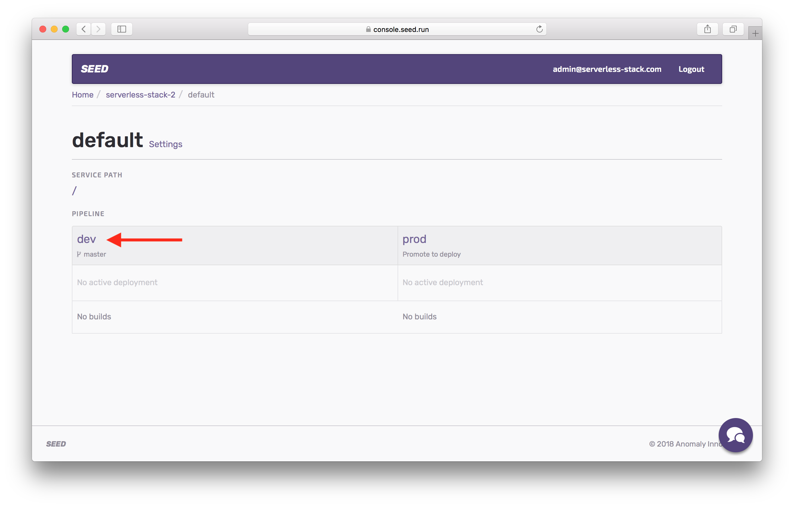 Click dev stage in Seed project screenshot
