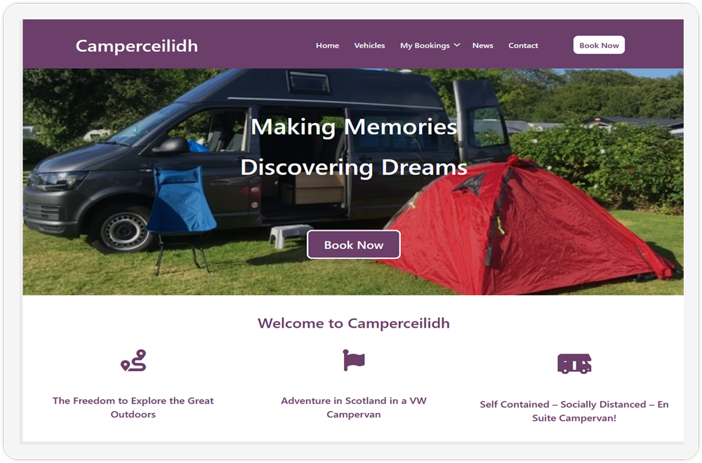The homepage of the Camperceilidh website showcased on a tablet