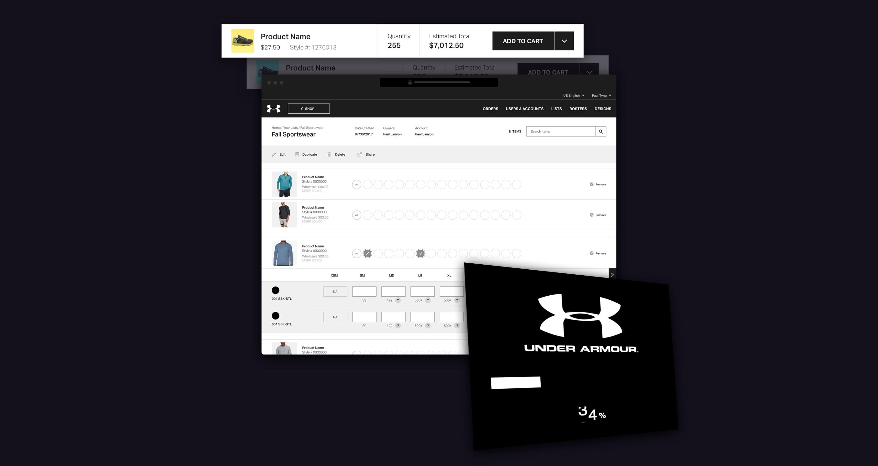 A darkened football field backdrop with various pieces of Under Armour ui on top