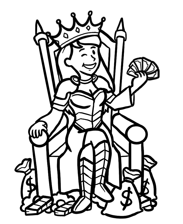 Female avatar sitting on throne with money.