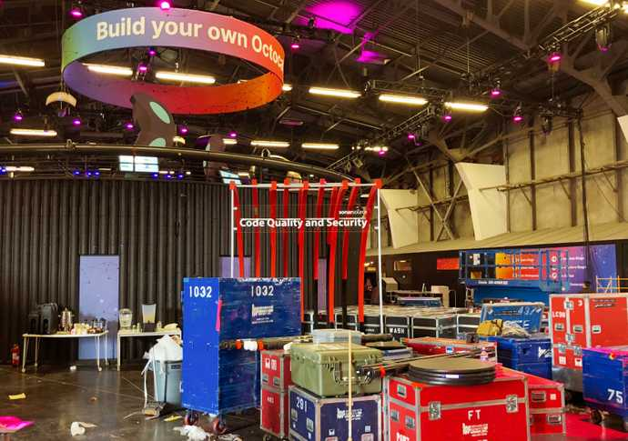 Construction site inside the venue