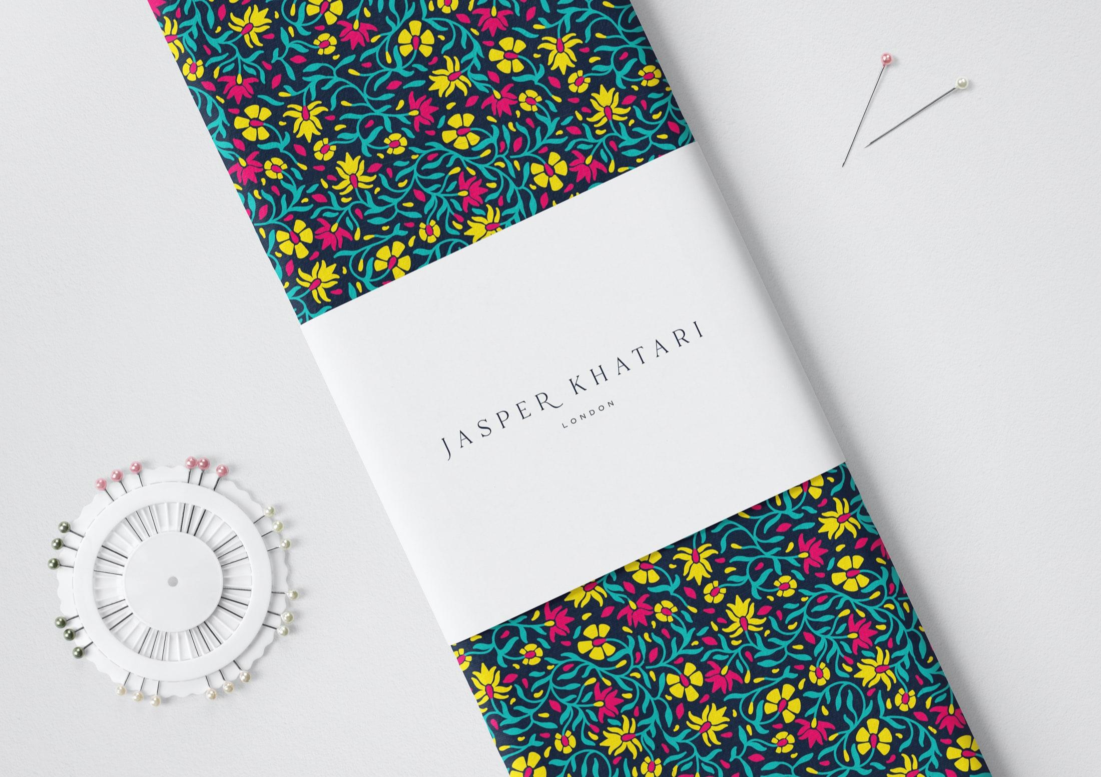 Refined, dramatic pattern design for Savile Row tailor, Jasper Khatari
