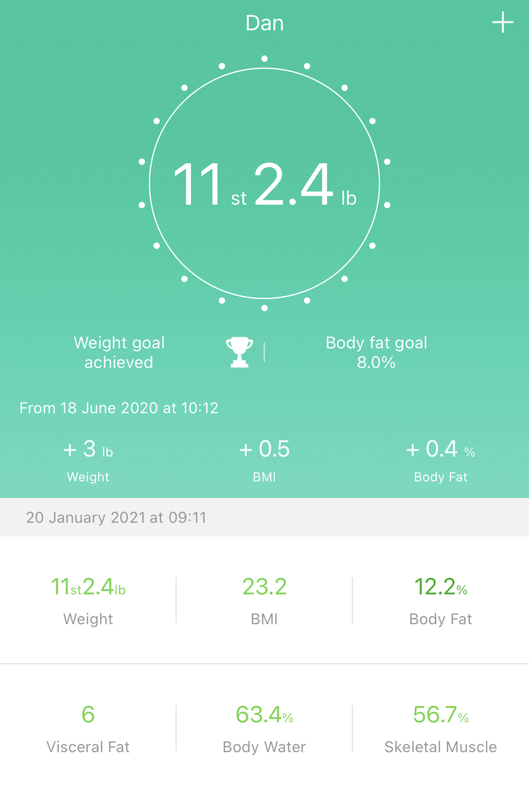Screenshot of Feelfit app with my weight statistics