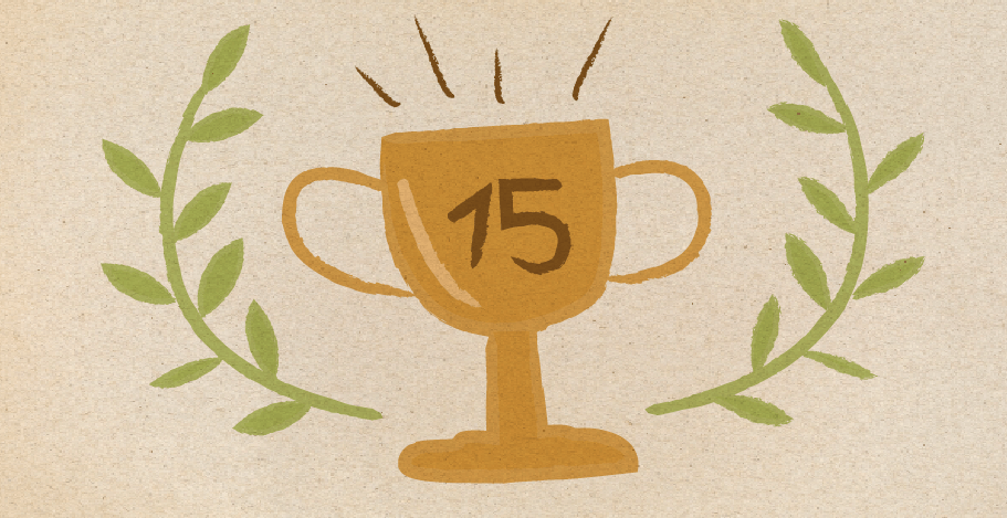 Illustration of a golden trophy with the number 15 on it