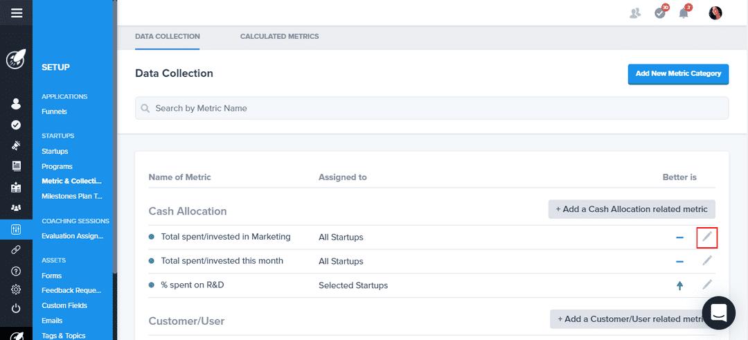 Editing core metrics