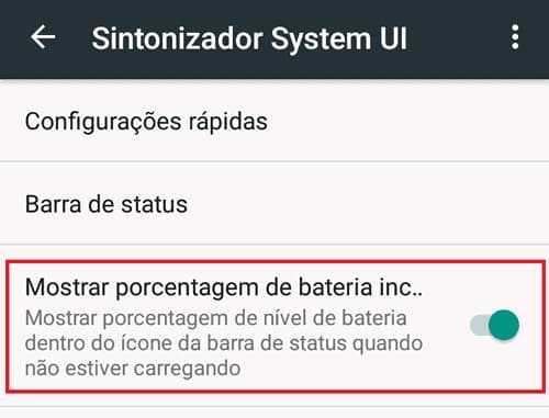 Mostrar porcentagem de bateria Android 6
