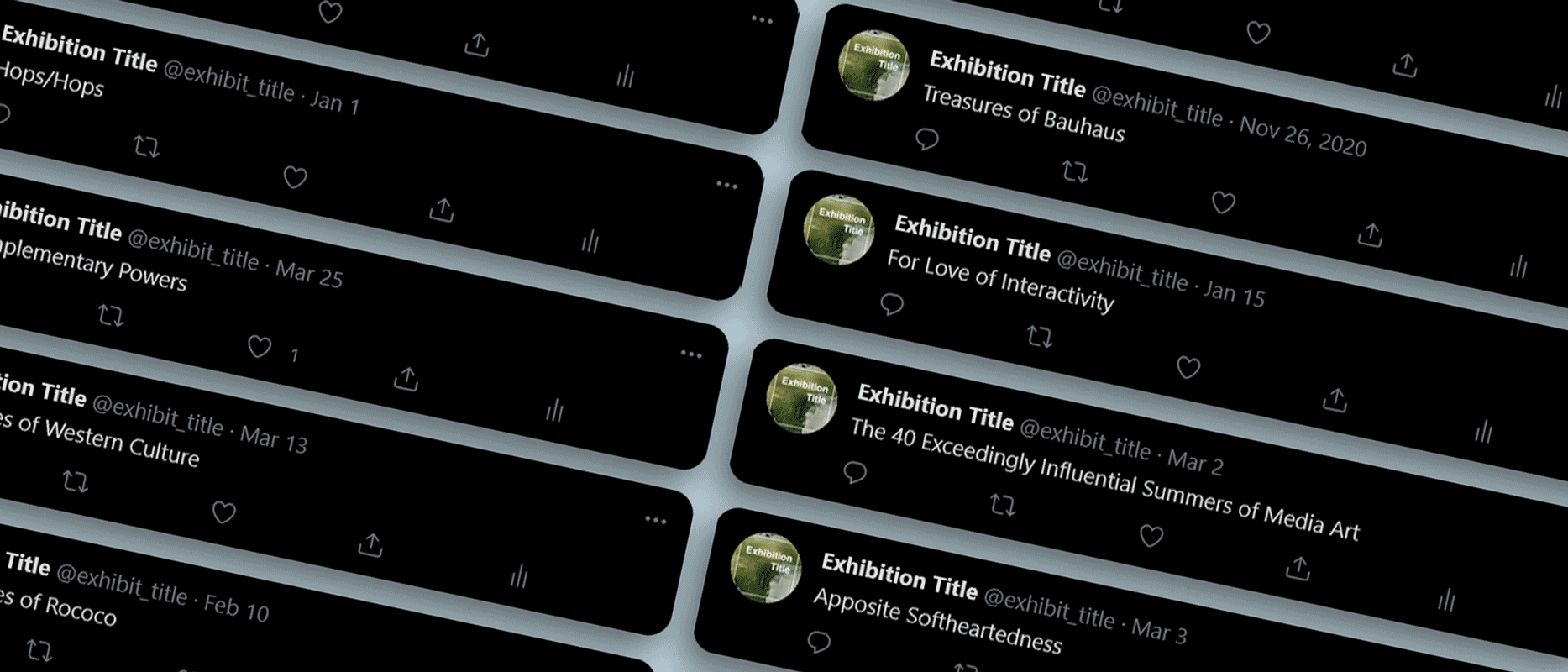 Mockup of tweets from the Twitter bot