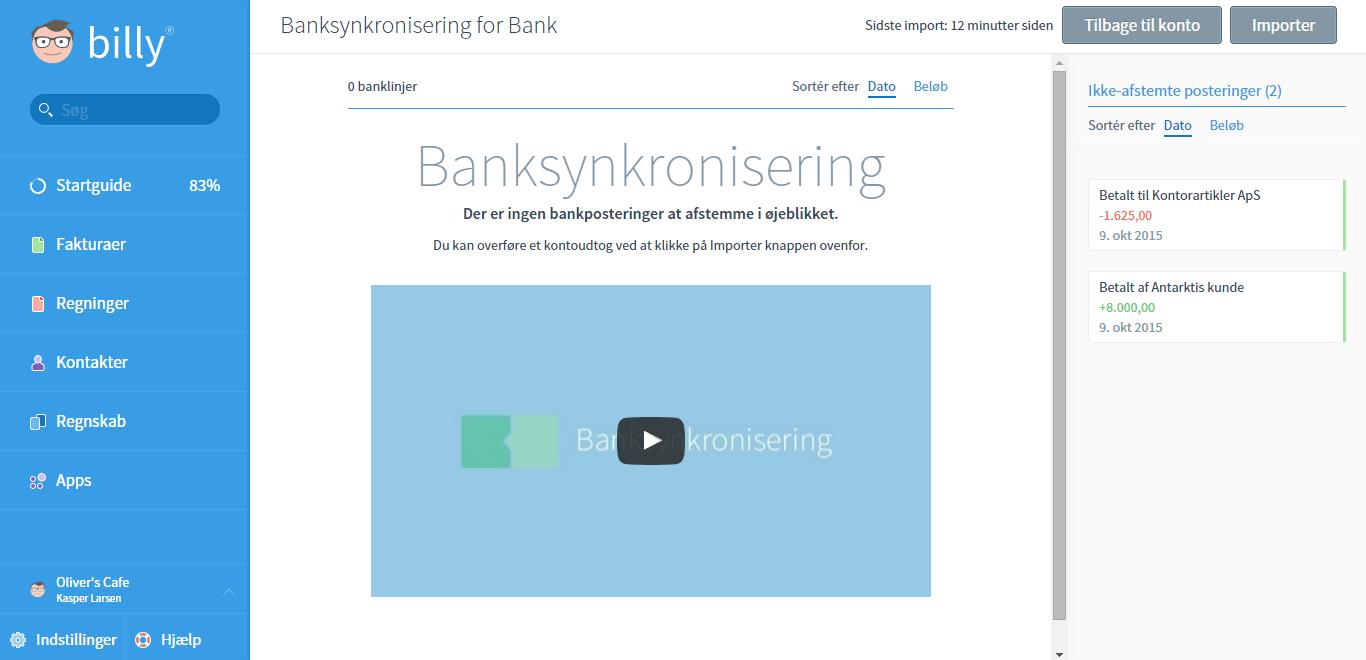 Fjern posteringer i bankafstemningen
