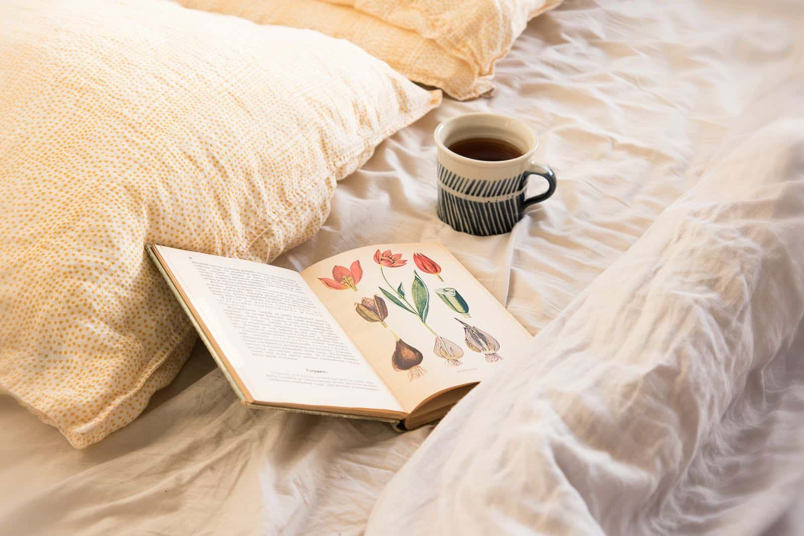 coffee and book in bed