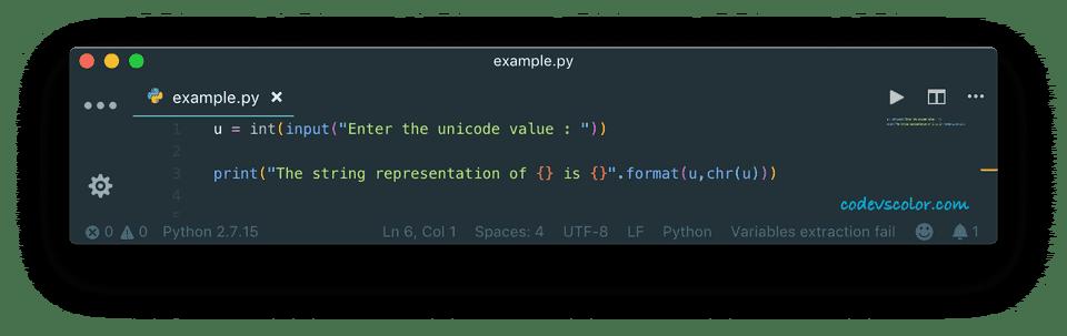 python convert unicode or ascii value to char