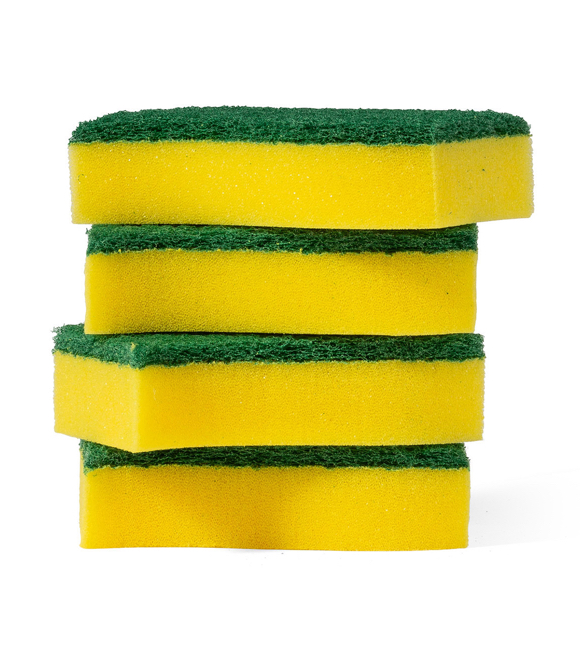 Stack of yellow plastic sponges with green scrubber tops