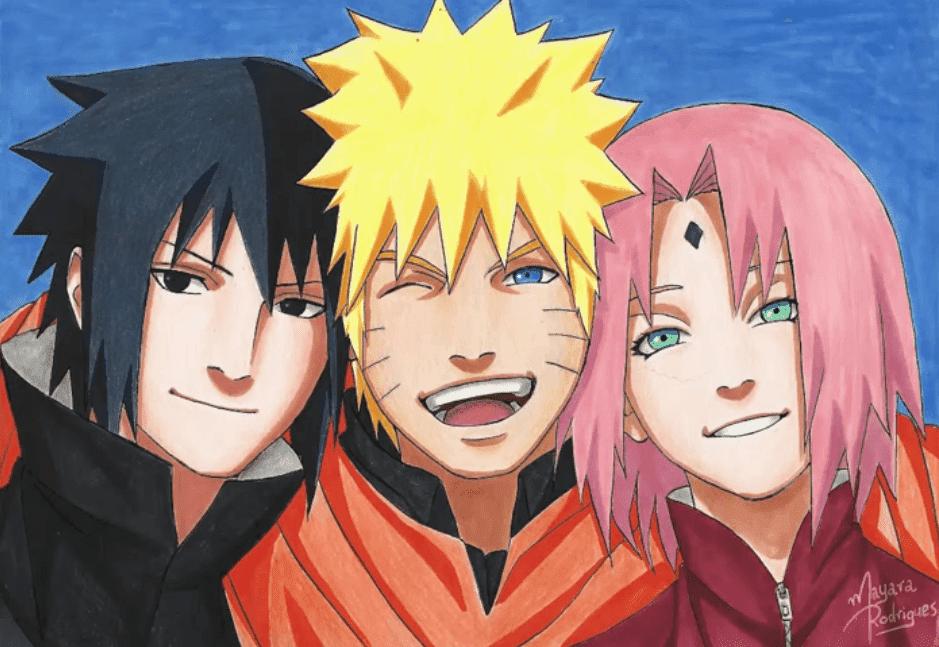 Desenho do Naruto, Sasuke e Sakura