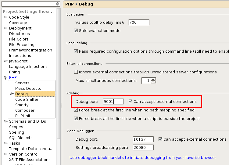 phpstorm-php-debugger-settings