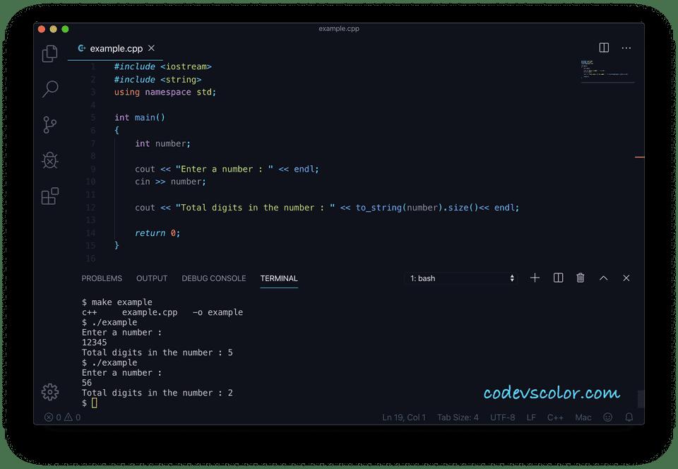 C++ total digits string