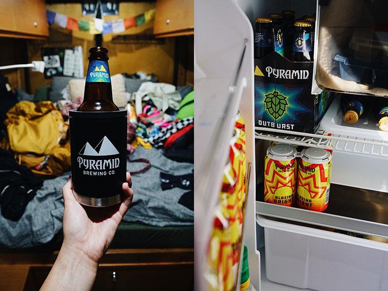 Left: IPA in sprinter van fridge. Right: Pyramid beer in camper van