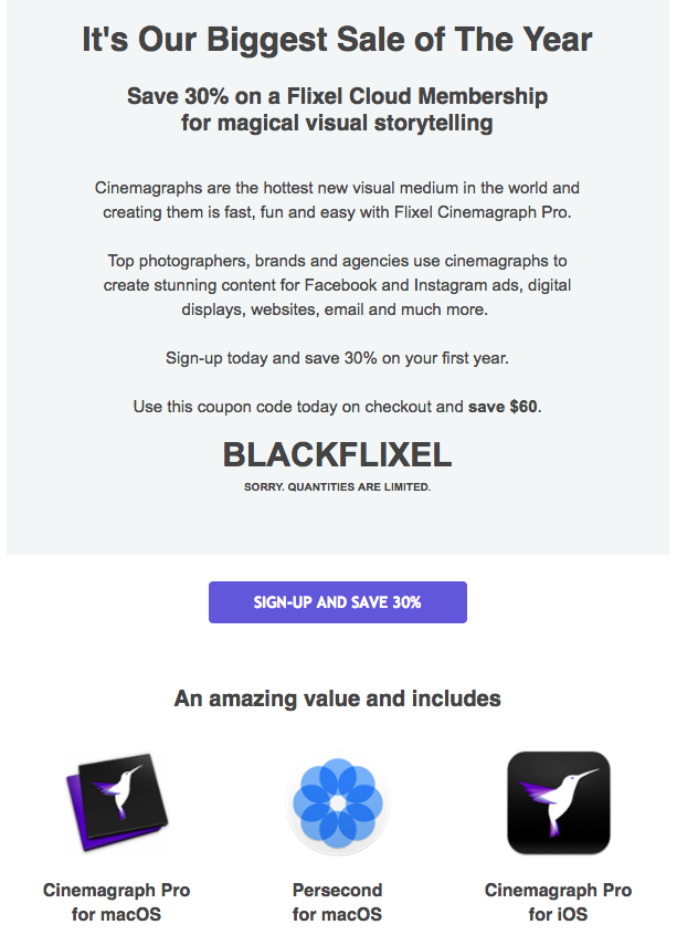 Flixel's first Black Friday email